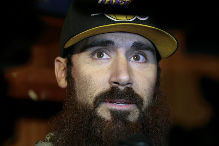 SAN DIEGO, CA, JANUARY 4, 2016: ..Monday morning Eric Weddle spoke withe reporters in front of his locker and unsure of his future as a Chargers player...(Nelvin C. Cepeda / San Diego Union-Tribune)