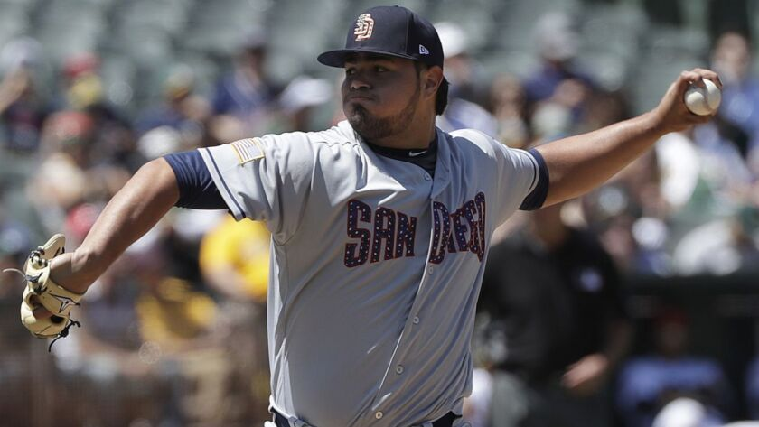 San Diego Padres pitcher Jose Castillo throws against the Oakland Athletics during the eighth inning of a baseball game in Oakland, Calif., Wednesday, July 4, 2018.