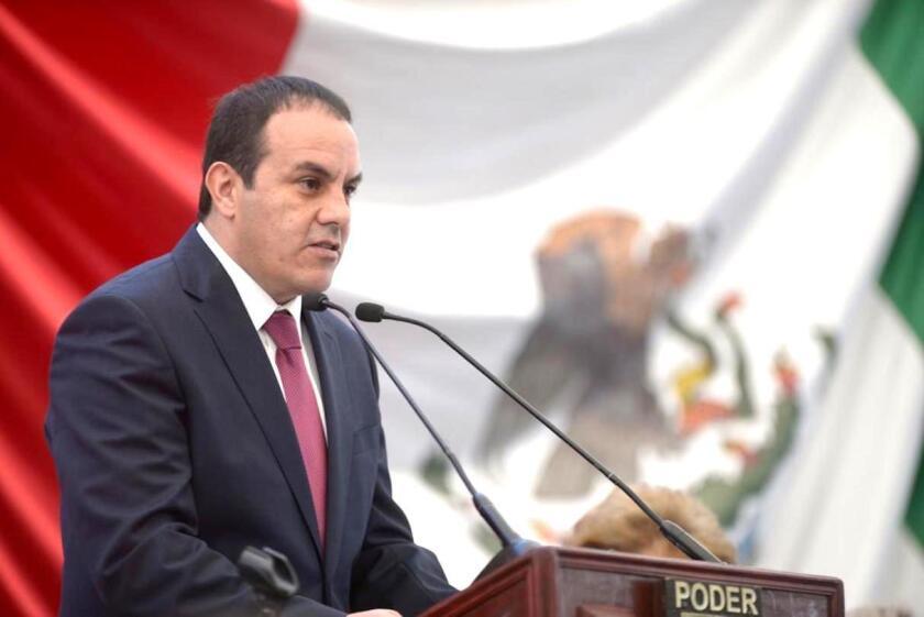 Cuauhtémoc Blanco durante su toma de protesta como Gobernador de Morelos.
