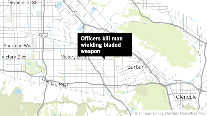 Officers kill man wielding bladed weapon in North Hollywood.