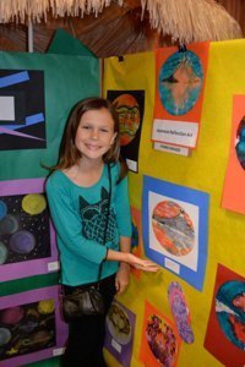 Morgan Thompson at Solana Santa Fe's student art show, funded by the PTO.