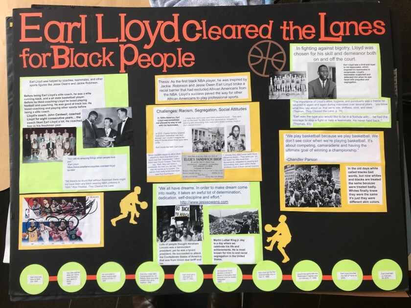 """Christopher Lee, Jake Kim and Aaron Park won for their work on the first African-American NBA player, titled """"Earl Lloyd: Overcoming Racial Barriers in Basketball."""""""