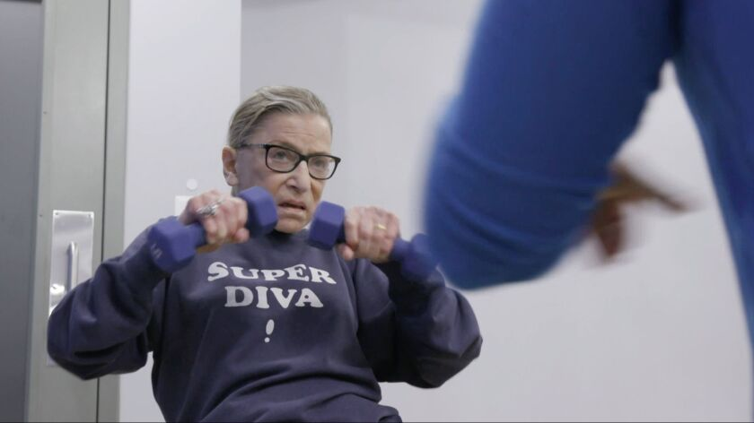 """Justice Ruth Bader Ginsburg mid workout routine in """"RBG"""" movie, a Magnolia Pictures release. Photo c"""