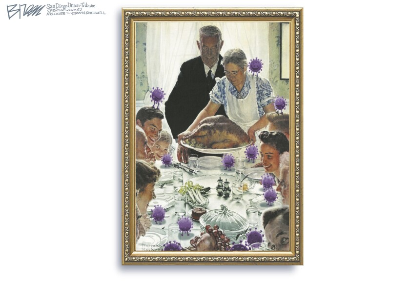 """coronavirus germs gather with a large family in this Breen cartoon of Norman Rockwell's famous """"Freedom from Want"""" painting"""