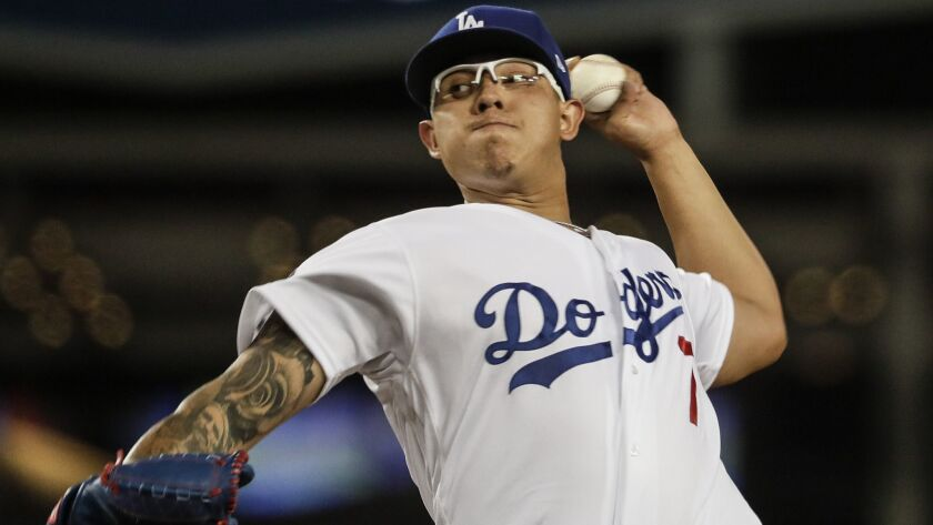 LOS ANGELES, CA, MONDAY, APRIL 1, 2019 - Dodgers starter Julio Urías pitches against the Giants in t
