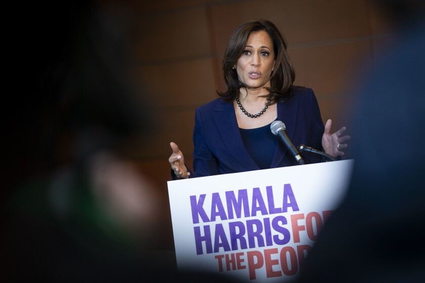 U.S. Sen. Kamala Harris (D-CA) speaks to reporters after announcing her candidacy for President at Howard University in 2019.