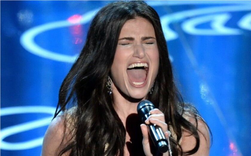"Idina Menzel performs ""Let It Go"" from the movie ""Frozen"" during the Oscar ceremony at the Dolby Theatre in Hollywood."