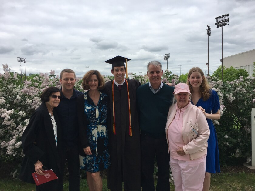 Rand Family: From left, Connie's mother Marilyn Lewis, Karl's son Colton, Karl's wife Connie, son Lawrence, Karl, Karl's mother Virginia, daughter Vivian.