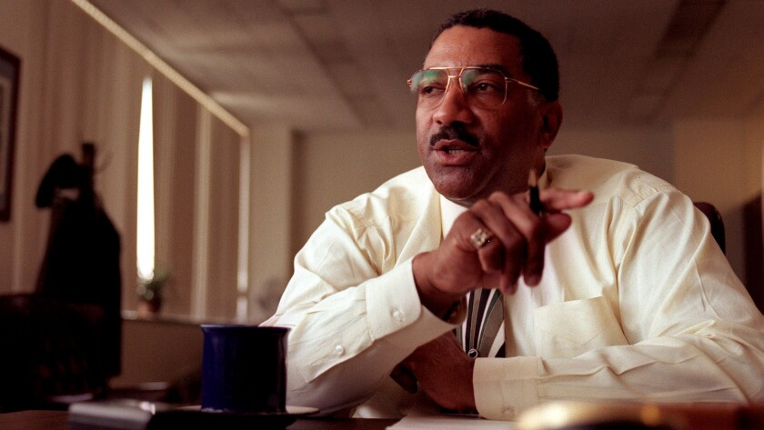 Los Angeles Police Chief Willie L. Williams during a May 16, 1997, farewell interview in his office.