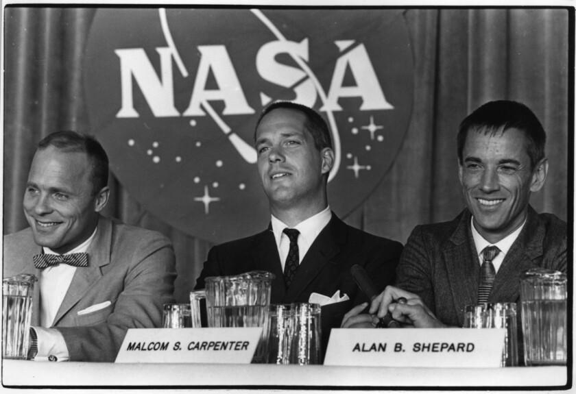 """Ed Harris as John Glenn, Charles Frank as Scott Carpenter and Scott Glenn as Alan Shepard in """"The Right Stuff."""""""