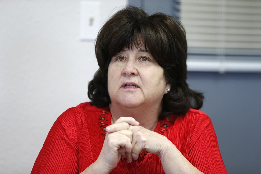 In this May 5, 2016 photo, Marsha McLane, executive director of the Texas Civil Commitment Office, talks about her facility's operations at the Texas Civil Commitment Center, Bill Clayton Facility, in Littlefield, Texas. Many of Texas' most violent sex offenders have been housed for months in the former prison in rural West Texas. Officials believe the in-patient treatment protocol will yield better results for those confined here by court order due to its more intensive and therapeutic nature, according to McLane. (Mark Rogers/Lubbock Avalanche-Journal via AP) ALL LOCAL TELEVISION OUT; MANDATORY CREDIT