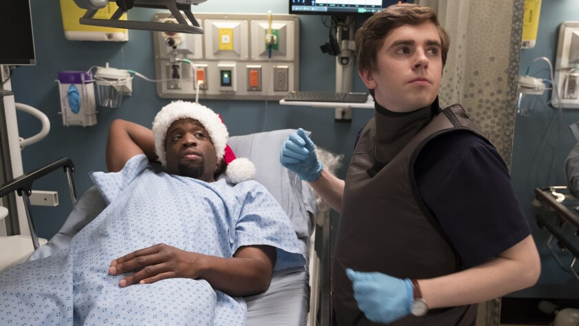 """Rell Battle, left, and Freddie Highmore in """"The Good Doctor"""" on ABC."""