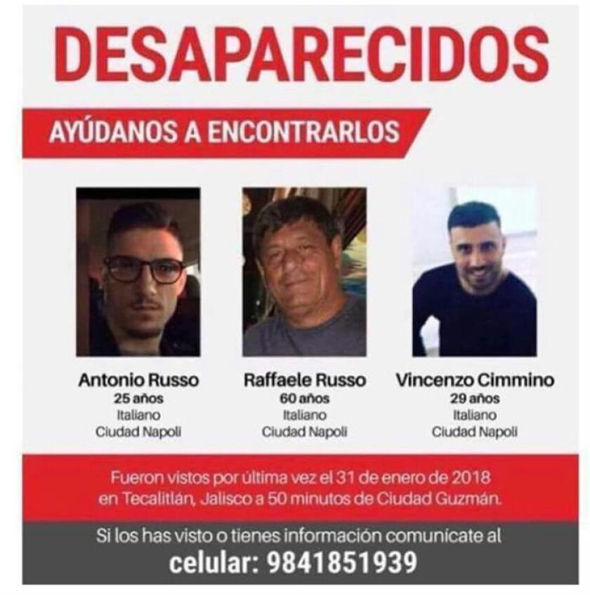 Tres italianos originarios de Nápoles se encuentran desaparecidos desde el pasado 31 de enero en el municipio de Tecalitlán, en el occidental estado mexicano de Jalisco, informó hoy la Fiscalía General de esa entidad. EFE/STR/ SOLO USO EDITORIAL/MEJOR CALIDAD DISPONIBLE