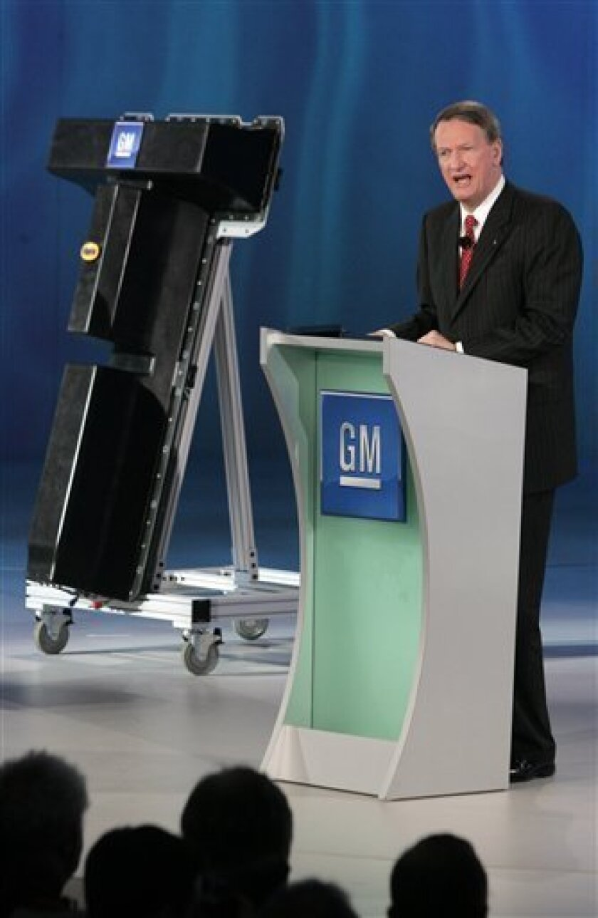 General Motors Corp. CEO Rick Wagoner introduces the Chevrolet Volt battery pack at the North American International Auto Show Monday, Jan. 12, 2009, in Detroit.  GM said Monday it has picked LG Chem of South Korea to supply the lithium-ion battery cells for its Chevrolet Volt electric vehicle. (AP