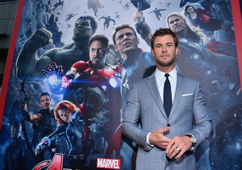 """Actor Chris Hemsworth, who plays Thor, attends the world premiere of """"Avengers: Age Of Ultron"""" in Hollywood on Monday."""