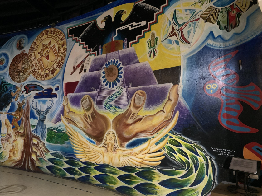 A mural titled, Dualidad/Duality inside the walls of Centro Cultural de la Raza in Balboa Park.