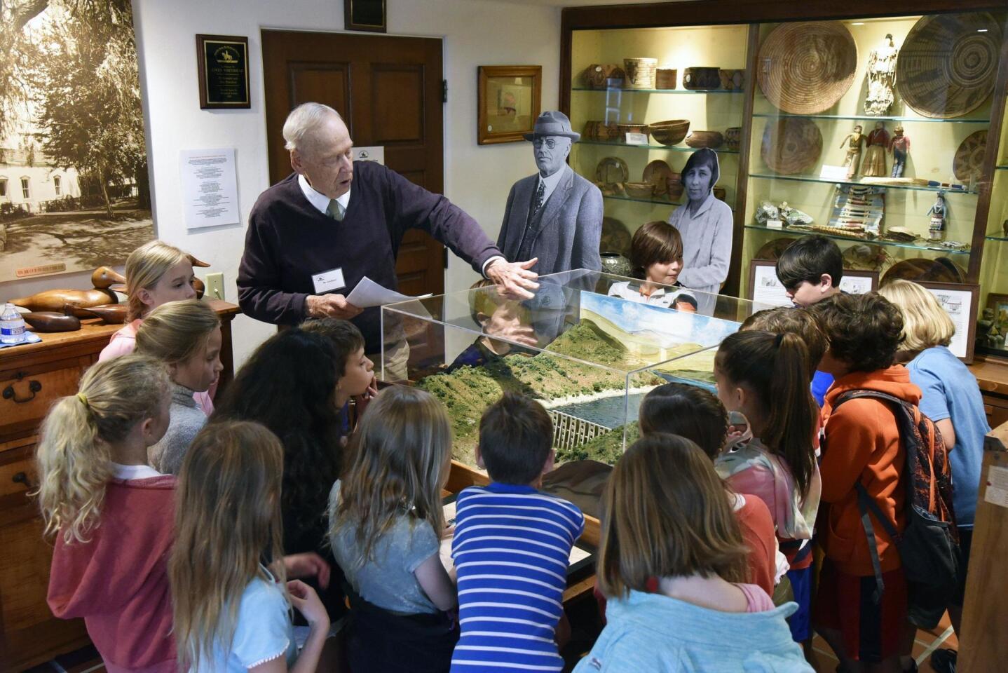 Board member/landscape artist Roger Lindland tells the story of the Lake Hodges Dam