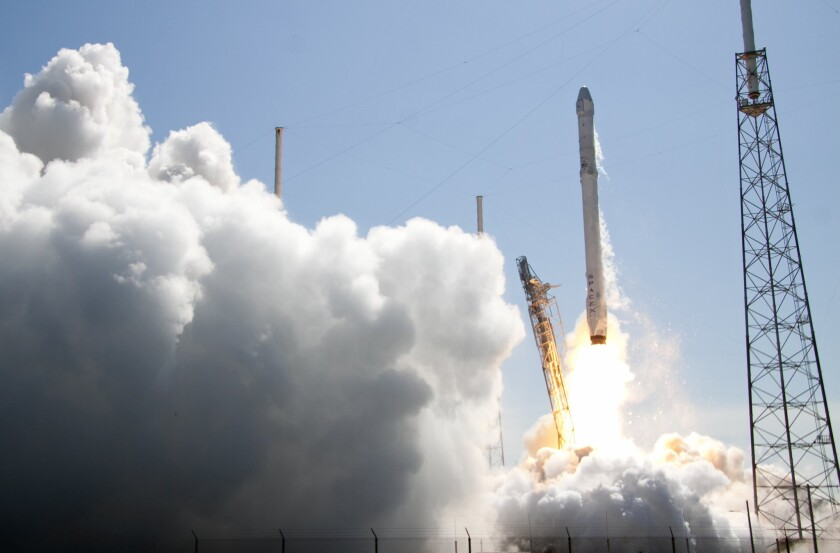 The Falcon 9 SpaceX rocket lifts off at Cape Canaveral last month.