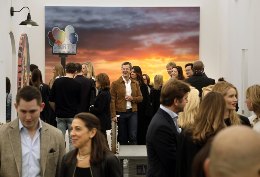 A crowd of people at Frieze 2020 in Los Angeles