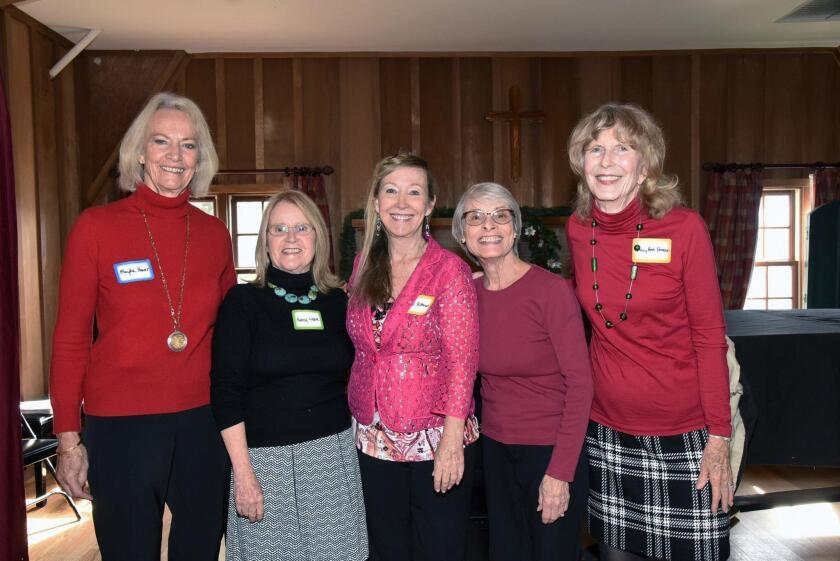 Social and Good Times committee chair Maryka Hoover, Founder/board member Nancy Weare, piano player Lori Rittman, committee members Liz Dernetz and Mary Ann Emerson