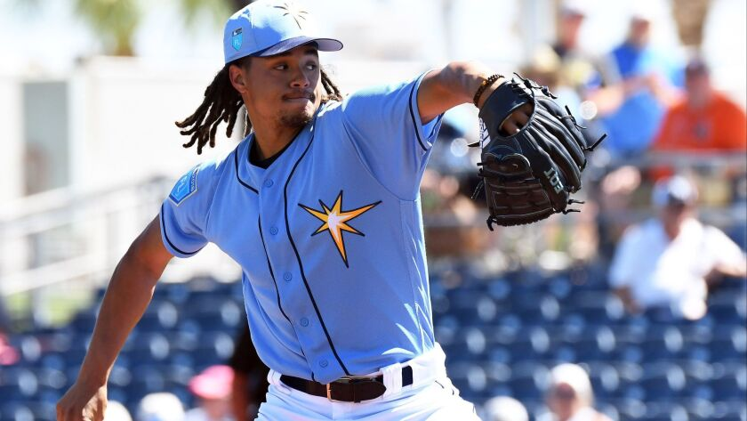 Tampa Bay Rays pitcher Chris Archer (22) pitches in the first inning of the spring training game against the Toronto Blue Jays at Charlotte Sports Park in Feb. 26, 2018.