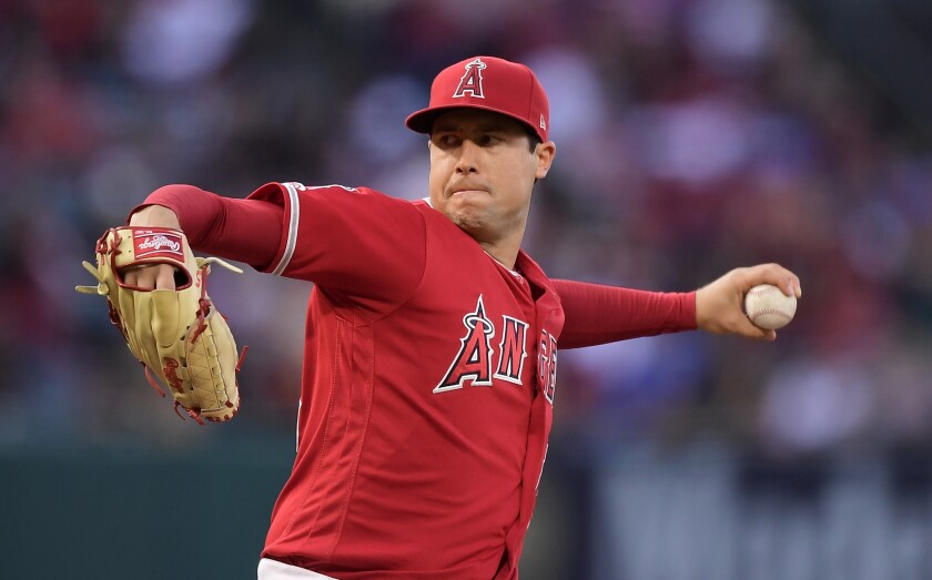 Tyler Skaggs delivers a pitch.