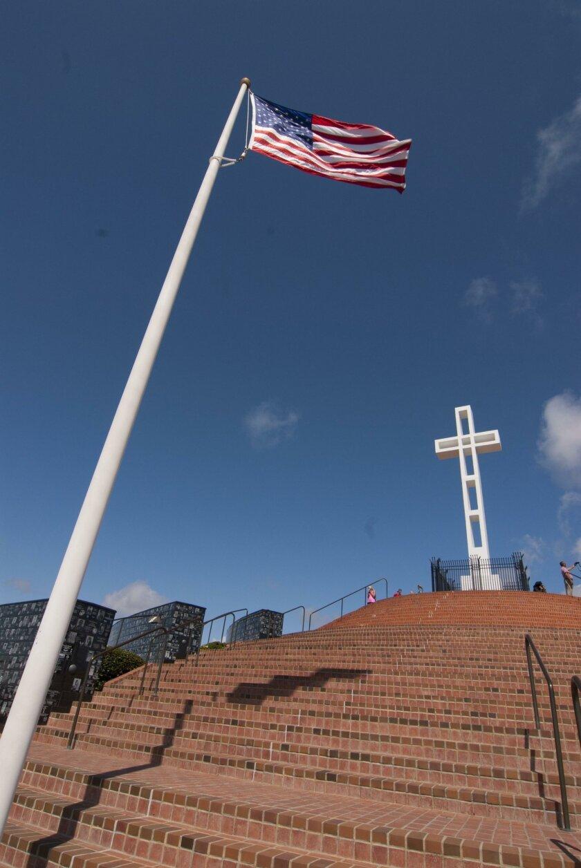 Patriotic memorial on Mount Soledad.