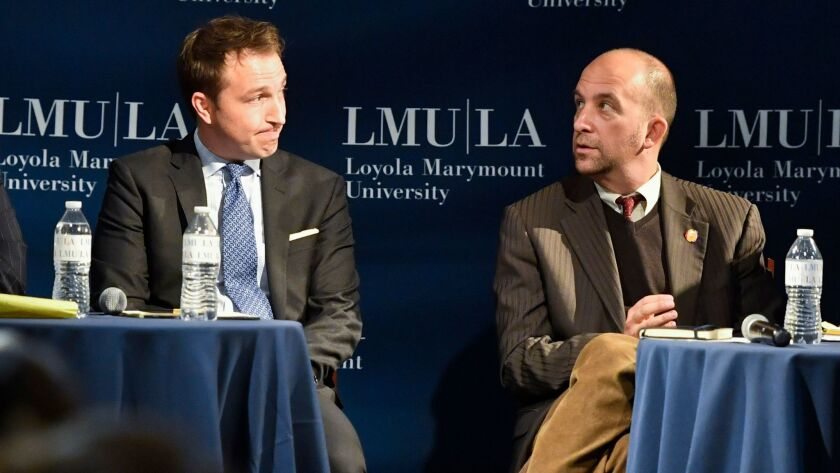 Challenger Nick Melvoin, left, is trying to unseat L.A. school board President Steve Zimmer. Both made their cases to voters at a forum held at Loyola Marymount University earlier this year.