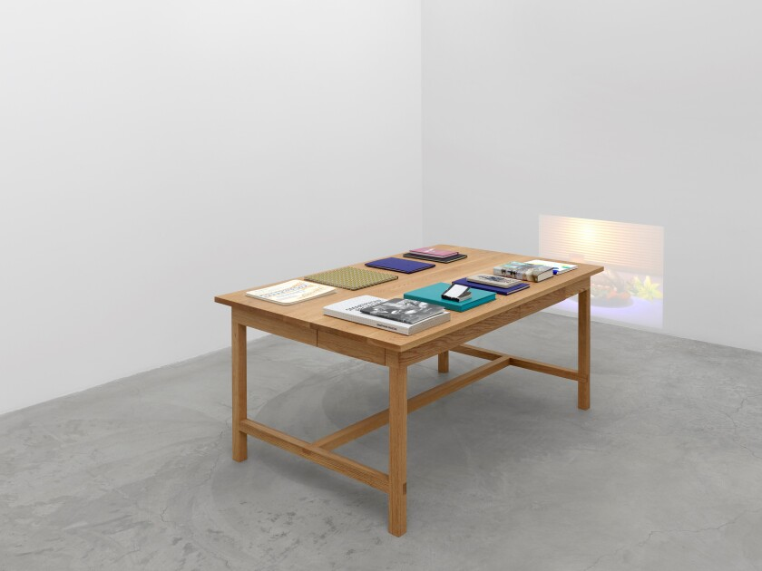 "Another of view of Owens' ""Books and Tables"" at Matthew Marks Gallery."