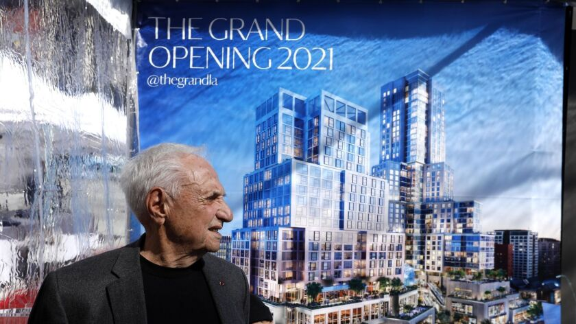 LOS ANGELES, CA - FEBRUARY 11, 2019 - - Architect Frank Gehry stands in front of a banner that featu