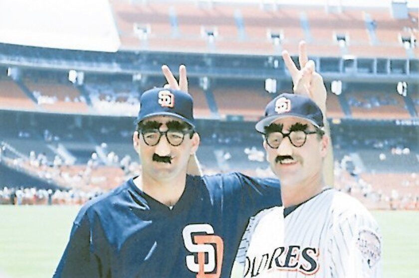 Padres pitchers Bruce Hurst and Larry Andersen clowning around in 1991.