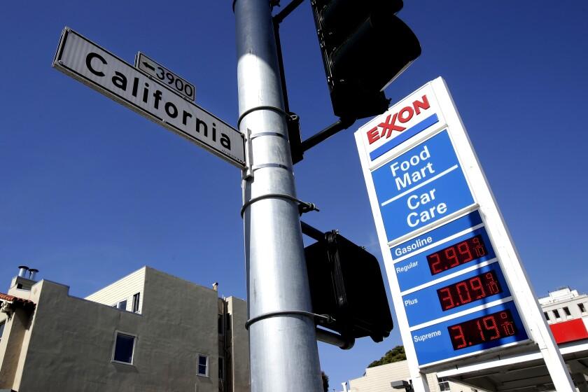 An Exxon gas station sign