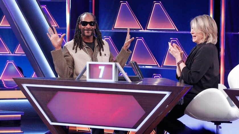 """Snoop Dogg and  Martha Stewart in """"The $100,000 Pyramid."""""""