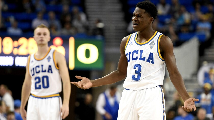 UCLA guard Aaron Holiday (3) reacts to a foul during the second half of a 76-68 loss to Oregon on Wednesday night at Pauley Pavilion.