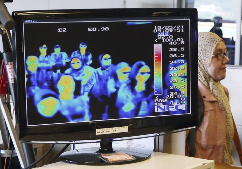 A thermal camera monitor shows the body temperature of passengers arriving from overseas against possible MERS, Middle East Respiratory Syndrome, virus at the Incheon International Airport in Incheon, South Korea, Thursday, May 21, 2015. South Korea said Thursday it has confirmed three cases of a respiratory virus that has killed hundreds of people in Saudi Arabia. (Kim Ju-sung/Yonhap via AP) KOREA OUT