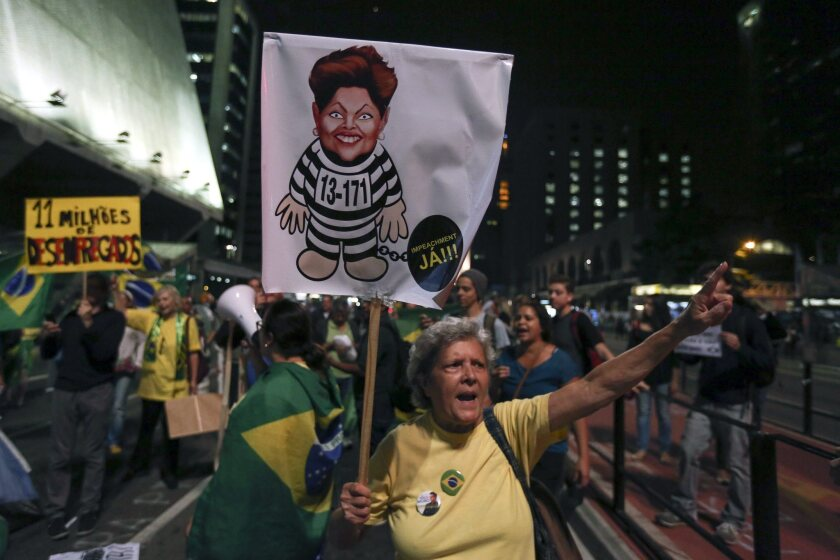 Protesters calling for the impeachment of Brazilian President Dilma Roussef