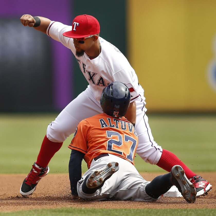 Texas Rangers second baseman Rougned Odor, top, tags out Houston Astros' Jose Altuve (27) during the first inning of a baseball game in Arlington, Texas, on Friday, April 10, 2015. (AP Photo/Brad Loper)