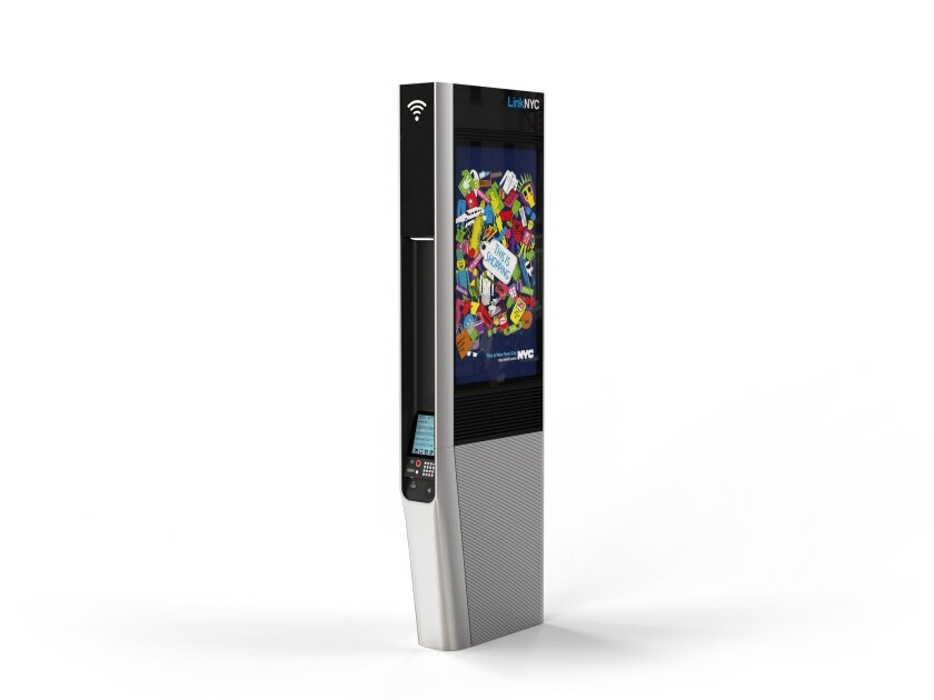 A Wi-Fi kiosk in New York, which will replace some pay phone booths.