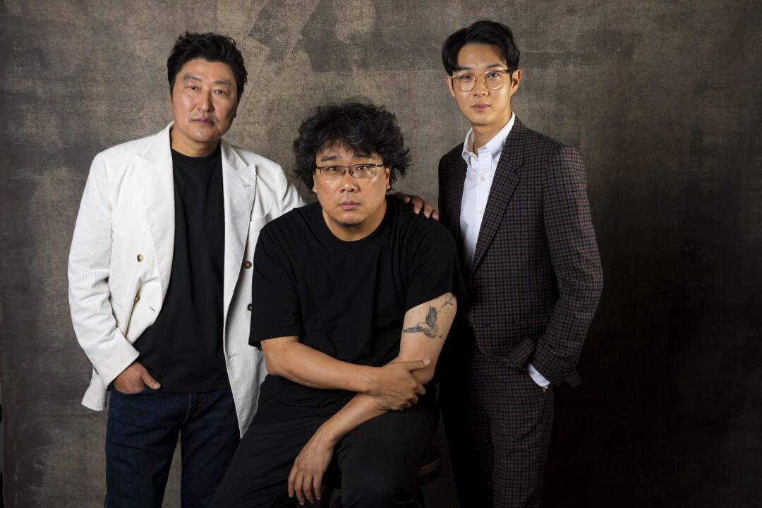 Song Kang Ho, left, Bong Joon Ho and Choi Woo Shik