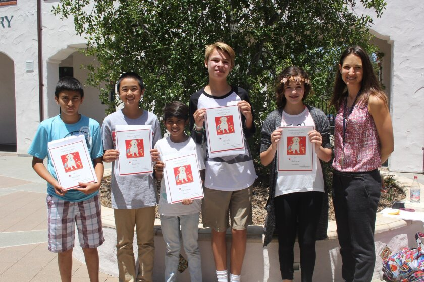 Grades 6-8 essay finalists, L-R: Wasay Zaman, Michael Chang, Devan Tantuwaya, Luca Csathy, Mia Bregman. Not pictured: Carson Wehlage