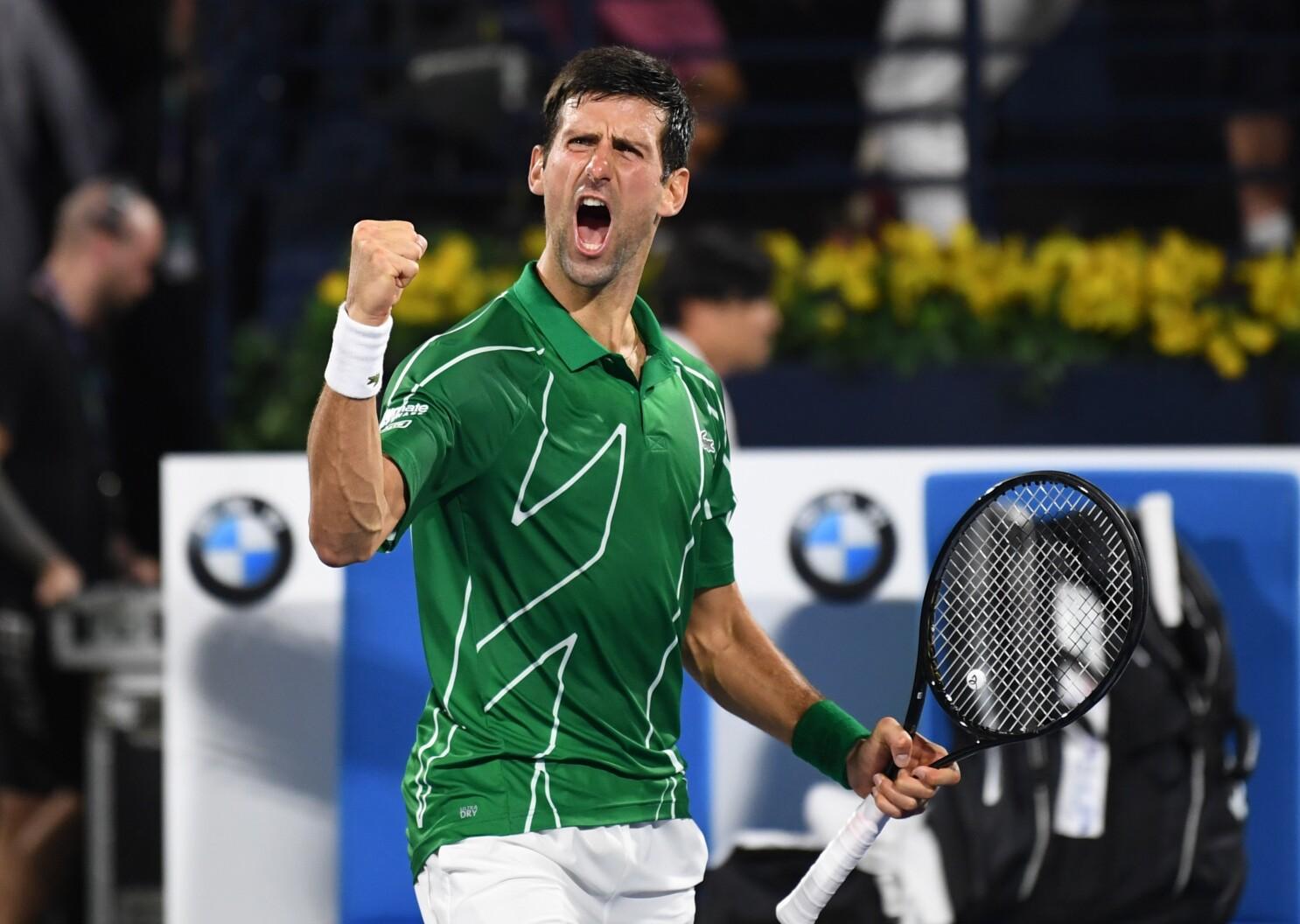 Novak Djokovic Defeats Stefanos Tsitsipas For Dubai Title Los Angeles Times