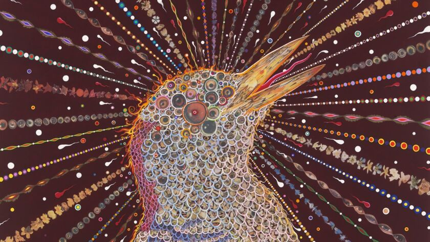 """Fred Tomaselli's """"Red Bird Two"""" is part of an exhibit at the Oceanside Museum of Art."""