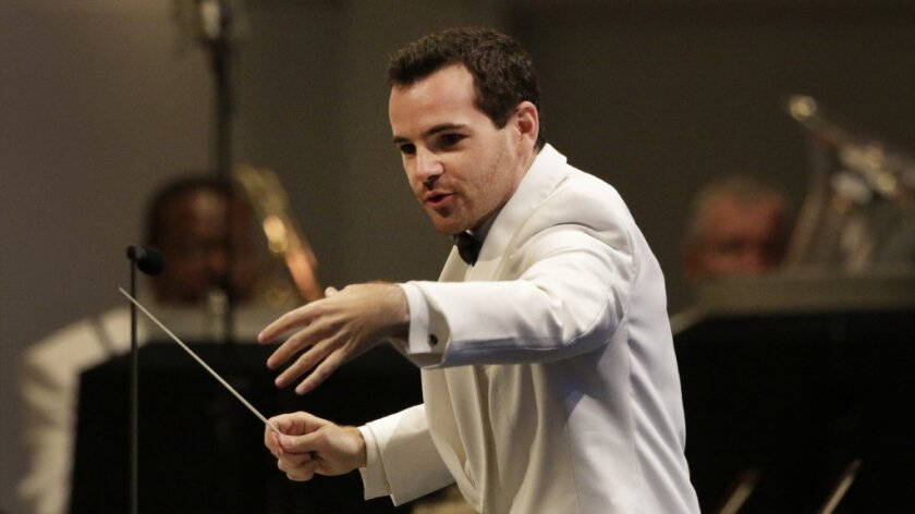 """Lionel Bringuier conducted two Los Angeles Philharmonic concerts at the Hollywood Bowl this week. He's seen here at Tuesday's concert. On Thursday he explored Prokofiev's and Tchaikovsky's takes on """"Romeo and Juliet."""""""