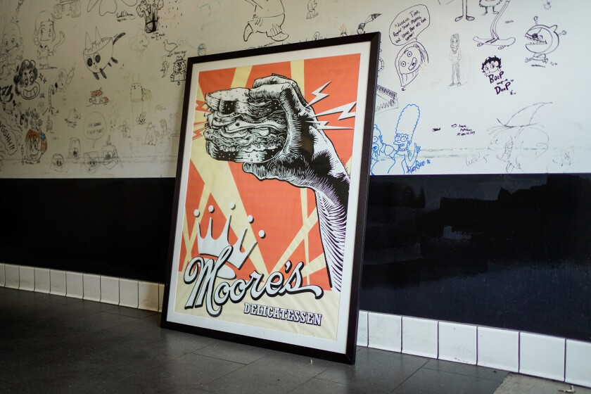 The walls of Moore's Delicatessen feature artwork by members of Hollywood's animation community.
