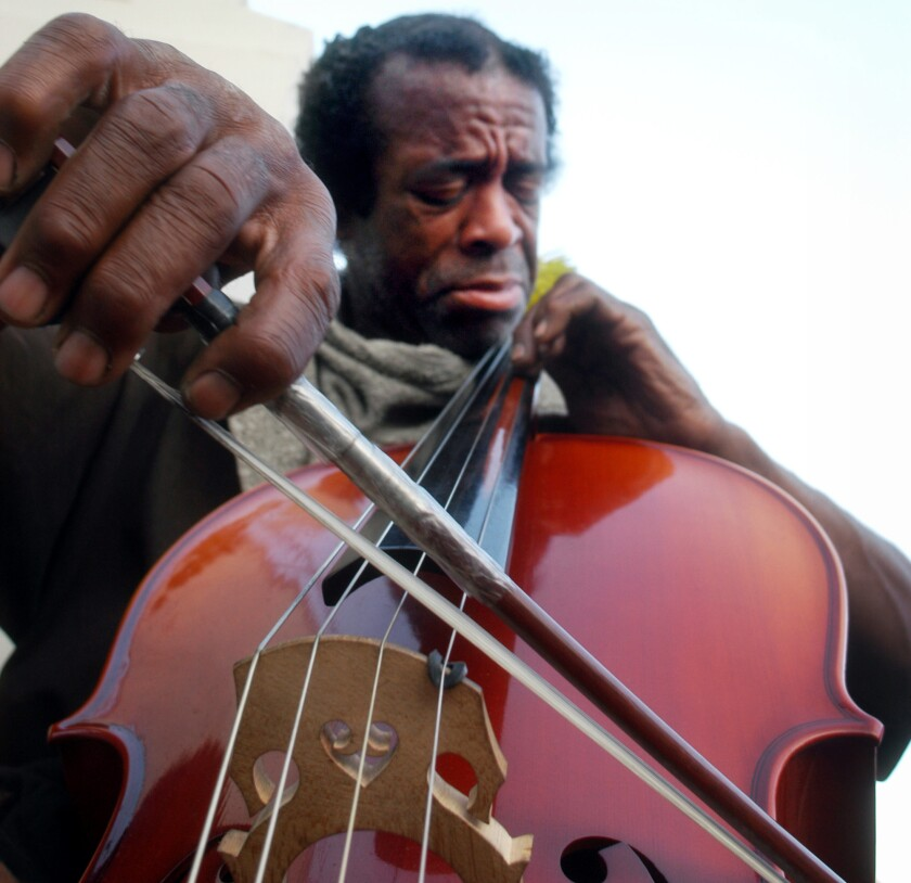 Nathaniel Ayers plays a cello in L.A. in July of 2005.