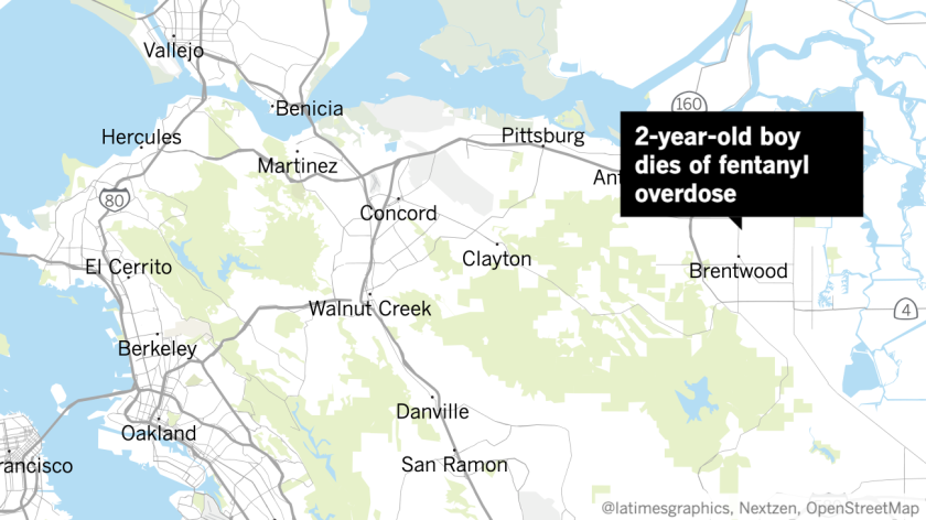 Map shows location of Brentwood, Calif., where a 2-year-old boy was found dead of a fentanyl overdose in September