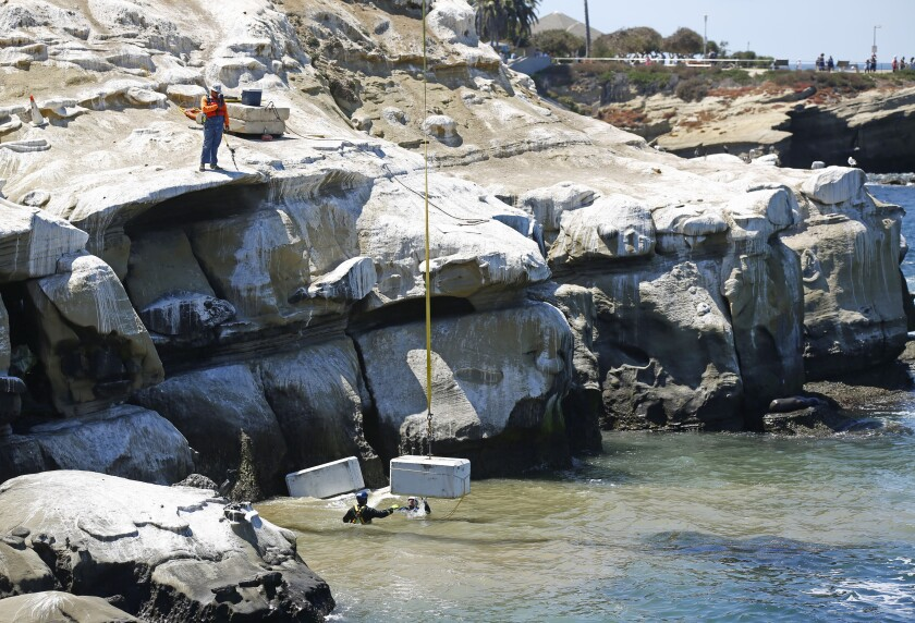 "Workers place concrete blocks near Koch's Cave below Coast Boulevard in La Jolla on August 19, 2019. The city of San Diego waited nearly two months to announce ""emergency"" construction on the La Jolla cave that geologists said could collapse at any time, city records show."