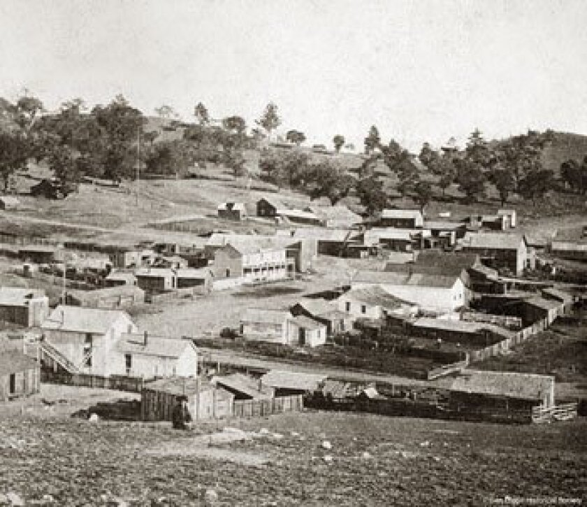 The town of Julian in the early 1870s, when gold was found and miners flocked to the area.