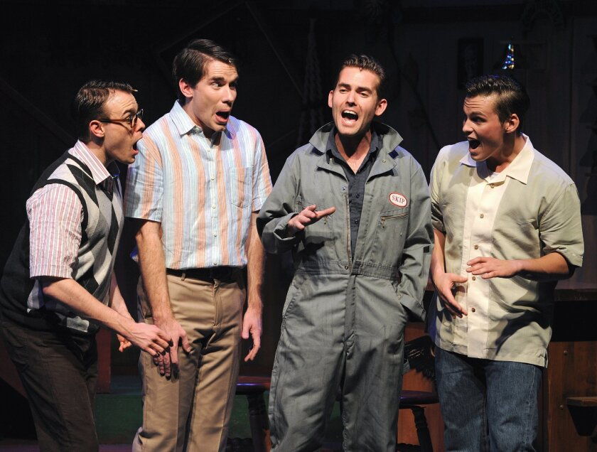 """Clay Stefanki, Richie Ferris, Nick Tubbs and Neil Starkenberg in Moonlight Stage Productions' """"Life Could Be a Dream"""" at the Avo Playhouse in Vista. CREDIT: Ken Jacques"""