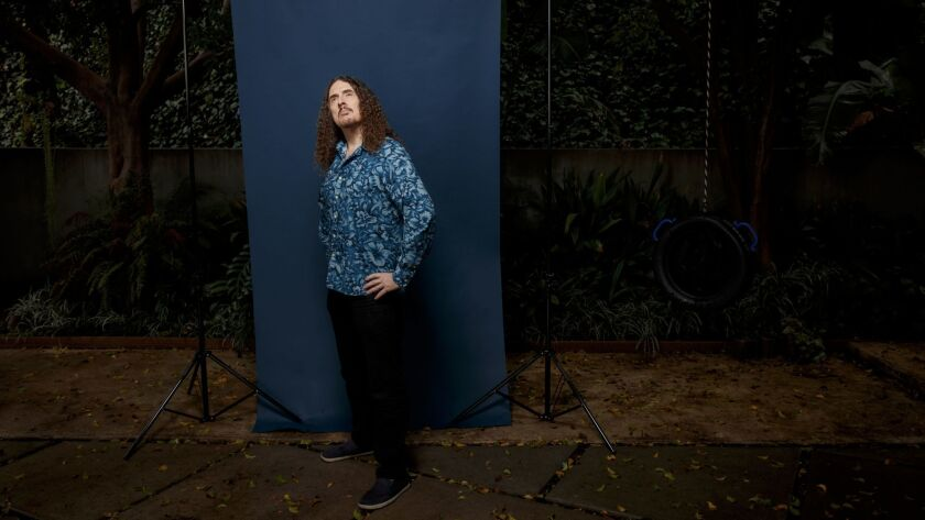 """Grammy-winning musician and expert accordion player, """"Weird"""" Al Yankovic, is photographed at his Los Angeles home."""